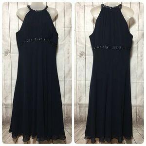 Jones Wear Dress 16 Navy Blue Beaded Halter Empire